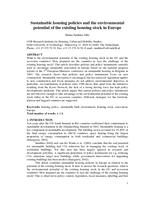Sustainable housing policies and the environmental potential of the existing housing stock in Europe