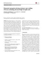 Elemental segregation during resistance spot welding of boron containing advanced high strength steels