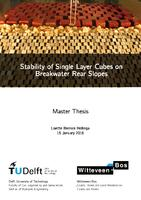 Stability of Single Layer Cubes on Breakwater Rear Slopes