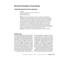 Biomimetic Strategies in Tower Design: Towards the integration of tower subsystems