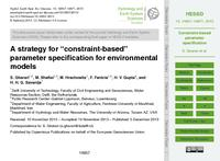 "A strategy for ""constraint-based"" parameter specification for environmental models"