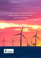 Providing Stacked Balancing Services using Wind-Storage systems
