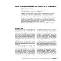 Using Smart Controlled AC and Ceiling Fan to Save Energy