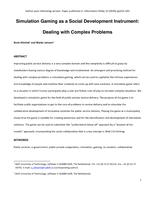Simulation Gaming as a Social Development Instrument: Dealing with Complex Problems