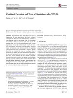 Combined Corrosion and Wear of Aluminium Alloy 7075-T6