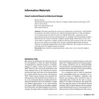 Information Materials: Smart material based architectural design