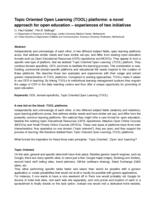 Topic Oriented Open Learning (TOOL) platforms: a novel approach for open education – experiences of two initiatives