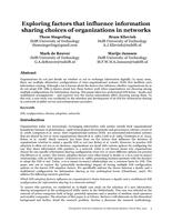 Exploring factors that influence information sharing choices of organizations in networks