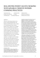 Balancing food values: Making sustainable choices within cooking practices
