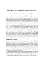 Distributed Task Allocation in Social Networks (extended abstract)