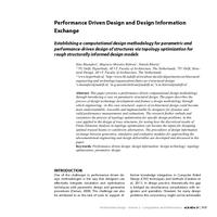 Performance Driven Design and Design Information Exchange: Establishing a computational design methodology for parametric and performance-driven design of structures via topology optimization for rough structurally informed design models