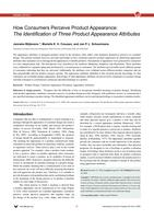 How consumers perceive product appearance; the identification of three product appearance attributes