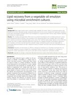 Lipid recovery from a vegetable oil emulsion using microbial enrichment cultures
