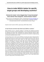 How to make MOOCs better for specific target groups and developing countries?